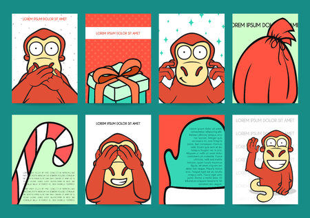 banana sheet: Set 8 ready holidays designs with red monkey for 2016. New Years and Christmas design of congratulatory cards. Design for press. Greeting cards. Background with monkey in doodle style. Gift, candy