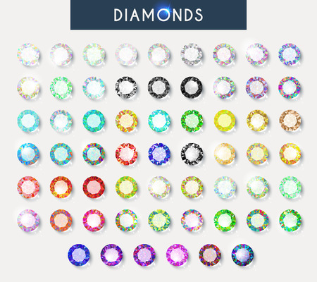 light reflection: Big set of 60 realistic crystals with light reflection and shadow in different colors. Realistic diamonds. Crystals for design and decoration. Natural gemstones. Shiny rhinestones. Volume diamonds