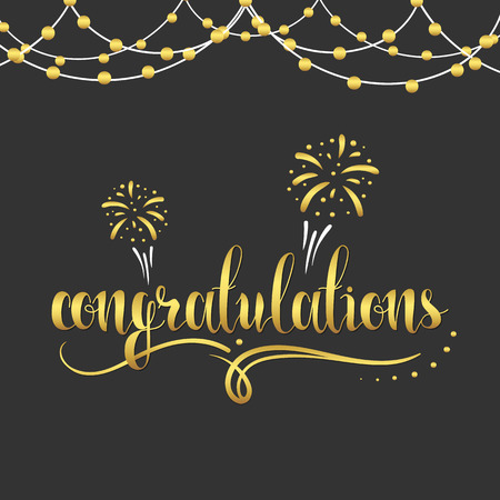 festoons: Congratulations gold. Gold text. The inscription Congratulations with fireworks, festoons, monograms and curls. Garland of gold beads. Calligraphy in gold color. Design an inscription Illustration