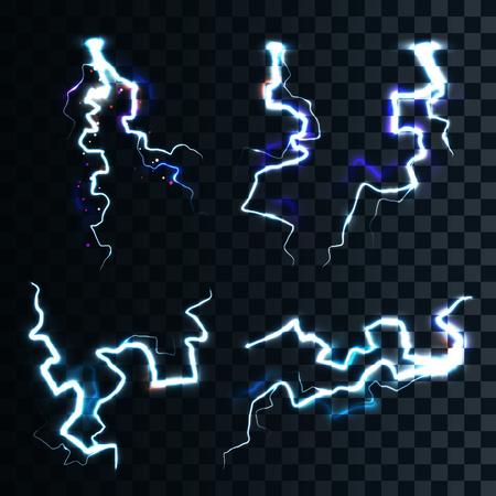 rayo electrico: Conjunto de los relámpagos realistas aisladas con transparencia para el diseño. Tempestad de truenos y relámpagos. Magia y efectos de luz brillante. Efectos naturales