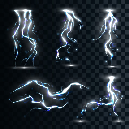 lighting effects: Set of the isolated realistic lightnings with transparency for design. Thunder-storm and lightnings. Magic and bright lighting effects. Natural effects