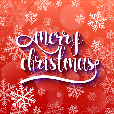 voluminous: Merry Christmas. Festive red background with calligraphic greeting voluminous text and purple reflex. Snowflakes and blur effect. Volume handwritten letters. Ready design card, postcard or invitation.
