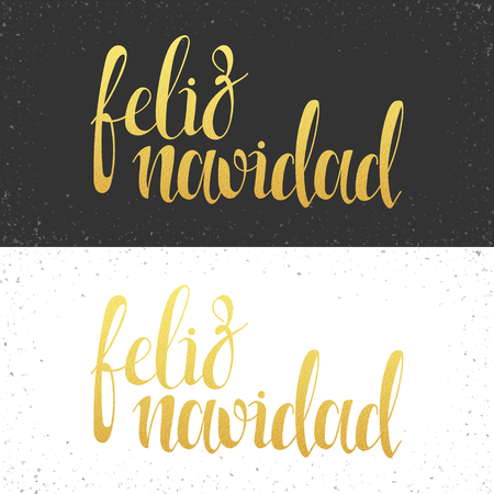 navidad: Merry Christmas card with greetings in spanish language. Feliz navidad. Calligraphy for design greeting cards with gold. Congratulations in Spanish. Realistic texture of gold leaf.