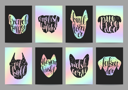 pug dog: Stylish retro hipster set templates with dog breeds, calligraphy and hologram. Trend color. Calligraphic words on minds of dogs silhouette popular breeds. Set trendy ready-made templates, calligraphy