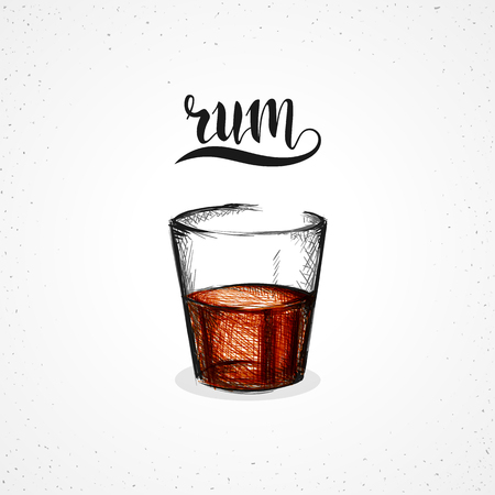 roma: Color rum in glass with calligraphy. Sketch glass rum draw by hand. Sketch handmade. Alcohol sketch graph. Glass for the Roma. Alcohol in glass. Careless realistic sketch. Calligraphic set