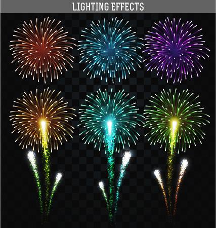 fuegos artificiales: Conjunto de 6 fuegos artificiales realistas diferentes colores. Festivo, fuego artificial brillante para collage y diseño de folletos, carteles, papel de regalo, tarjeta de felicitación. Saludad con transparencia para el diseño. Fuegos artificiales festivos.