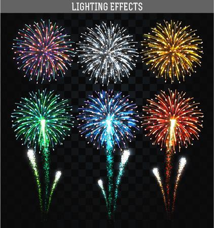 Set di 6 fuochi d'artificio realistici colori diversi. Festiva, fuochi d'artificio luminoso per collage e design brochure, poster, carta da imballaggio, biglietto di auguri. Salutiamo con trasparenza per il design. Fuochi d'artificio di festa. Archivio Fotografico - 49399436