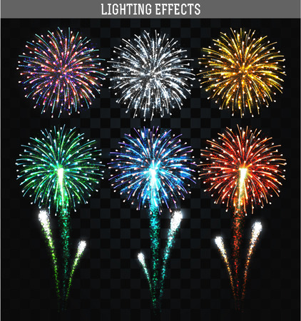 Set of 6 realistic fireworks different colors. Festive, bright firework for collage and design brochures, poster, wrapping paper, greeting card. Salute with transparency for design. Festive fireworks.