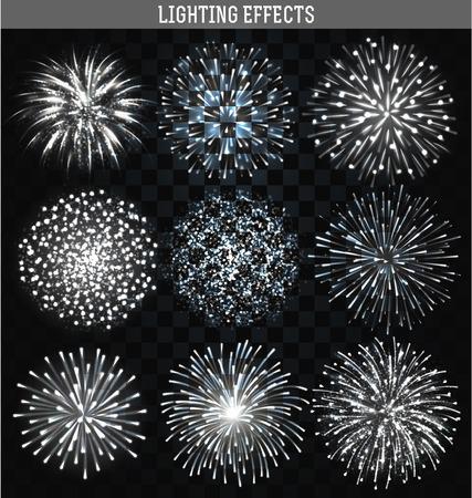 fuegos artificiales: Set 9 realistas de fuegos artificiales formas diferentes. Festivo colorido, brillante fuego artificial brillante de fuegos artificiales para el collage, diseño de folletos, carteles, papel de regalo, tarjeta de felicitación. Saludad con transparencia para el diseño.