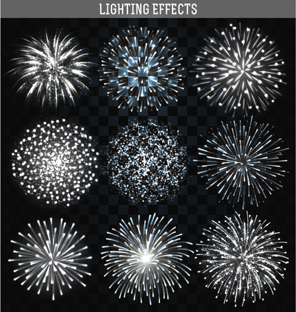 fireworks display: Set 9 realistic firework different shapes. Colorful festive, bright firework  bright firework for collage, design brochures, poster, wrapping paper, greeting card. Salute with transparency for design.