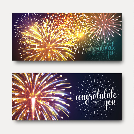 Set of 2 brochures festive design with fireworks. A bright, festive background for printing. Ready design with fireworks. Greeting card with realistic fireworks. Background with fireworks Vectores