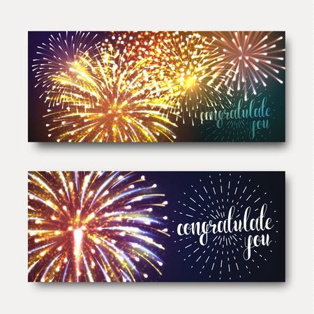 fireworks show: Set of 2 brochures festive design with fireworks. A bright, festive background for printing. Ready design with fireworks. Greeting card with realistic fireworks. Background with fireworks Illustration
