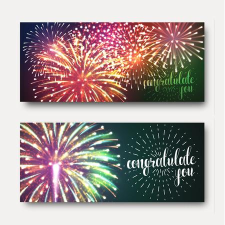 fuegos artificiales: Conjunto de 2 folletos de diseño festivo con fuegos artificiales. Un fondo brillante, festivo para la impresión. listo el diseño con los fuegos artificiales. Tarjeta de felicitación con los fuegos artificiales realistas. Fondo con los fuegos artificiales Vectores