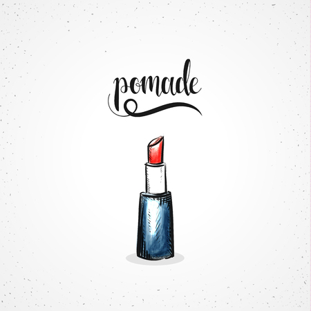 watercolor pen: Stylish colored hipster fashion lipstick handmade in sketch style. Imitation of watercolor, pen. Fashion sketch with calligraphy. Womens Accessories. Color sketch Illustration