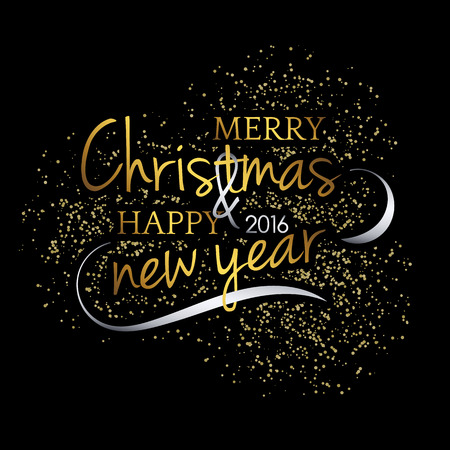 gold christmas background: Merry Christmas. Festive black background with gold calligraphic greeting text. Snowflakes and fireworks effect. Handwritten letters. Ready design card, postcard or invitation.