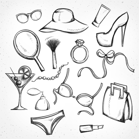 bra: Set monochrome sketch of female accessories. Imitation of pen. Set handmade. Bag and sunglasses. The hat and shoes. Brush and lipstick. Ring and beads. Bra and panties. Bow and cocktail