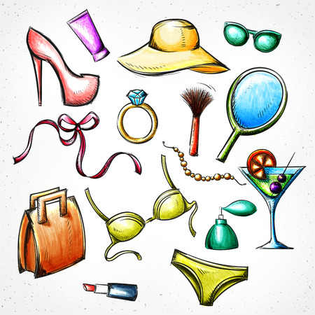 makeup products: Set color sketch of female accessories. Imitation of watercolor and pen. Set handmade. Bag and sunglasses. The hat and shoes. Brush and lipstick. Ring and beads. Bra and panties. Bow and cocktail Illustration
