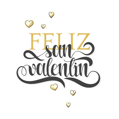 valentin day: Happy valentines day. Phrase Spanish handmade. Feliz san valentin. Stylish, modern, elite calligraphy. Quote with swirls. Phrase for design of brochures, posters, banners, web. World Day of Valentine Illustration