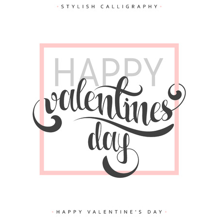 an elite: Happy valentines day. Pink phrase handmade. Stylish, modern calligraphy. Elite calligraphy. Quote with swirls. Search for the design of brochures, posters, banners, web design. World Day of Valentine Illustration