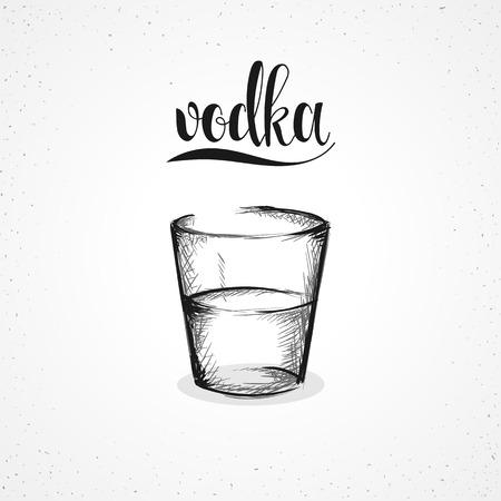 careless: Monochrome vodka in glass with calligraphy. Sketch glass vodka drawn. Sketch handmade. Alcohol sketch graph. Glass for the vodka. Alcohol in glass. Careless realistic sketch. Calligraphic set Illustration
