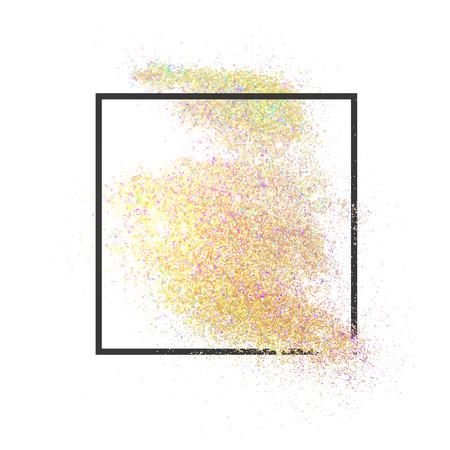 Paillettes en vrac dans le cadre de la conception de texte et le lettrage. Glitter réaliste. Des paillettes d'or. Poudre d'or. Paillettes