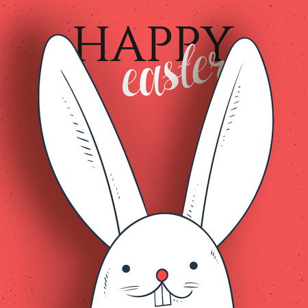 Happy easter. Rabbit looks. Rabbit and greeting calligraphy. Easter bunny and Easter greetings. Bunny and handmade calligraphy Illustration