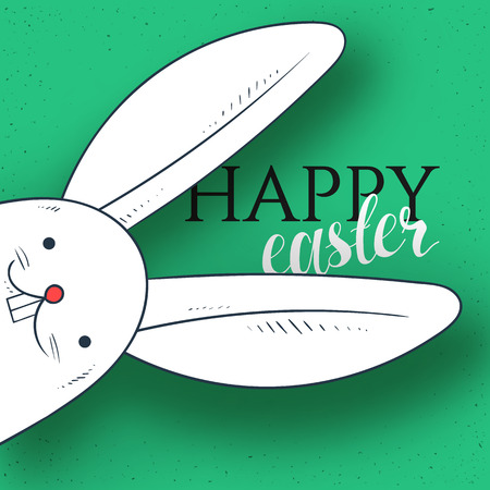 cartoon easter: Happy easter. Rabbit looks. Rabbit and greeting calligraphy. Easter bunny and Easter greetings. Bunny and handmade calligraphy Illustration
