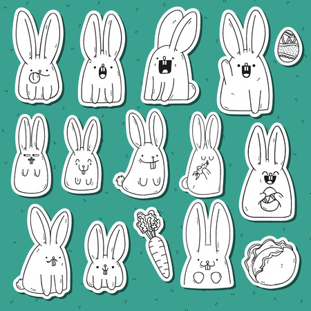 anime: Set 12 sticker rabbit doodle with different emotions. Rabbit Handmade. Isolated rabbit for design. Easter bunny. Surprised rabbit. Carrots and cabbage. Rabbit eating carrots. Festive rabbit for design