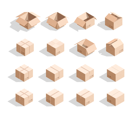 Set of 16 realistic isometric cardboard boxes with texture. Realistic boxes in an isometric style of design. Industrial box. Boxes for delivery by mail. Templates box for design 向量圖像
