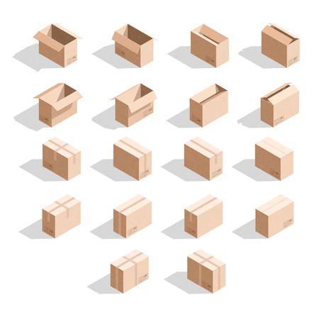 unbuttoned: Set of 18 realistic isometric cardboard boxes with texture. Realistic boxes in an isometric style of design. Industrial box. Boxes for delivery by mail. Templates box for design
