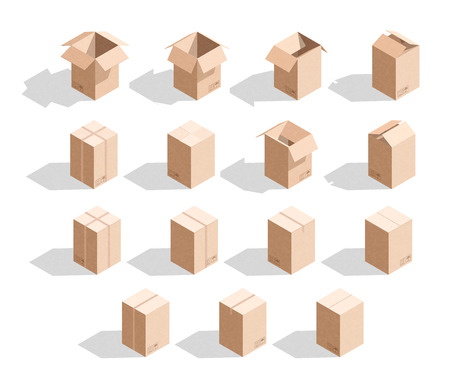 unbuttoned: Set of 15 realistic isometric cardboard boxes with texture. Realistic boxes in an isometric style of design. Industrial box. Boxes for delivery by mail. Templates box for design