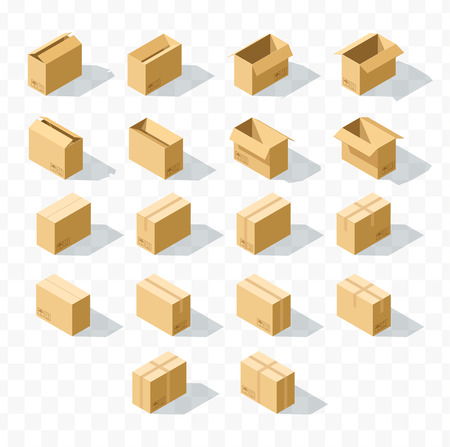 unbuttoned: Set of 18 realistic isometric cardboard boxes with transparent shadow. Realistic boxes in an isometric style of design. Industrial box. Boxes for delivery by mail. Templates box for design Illustration