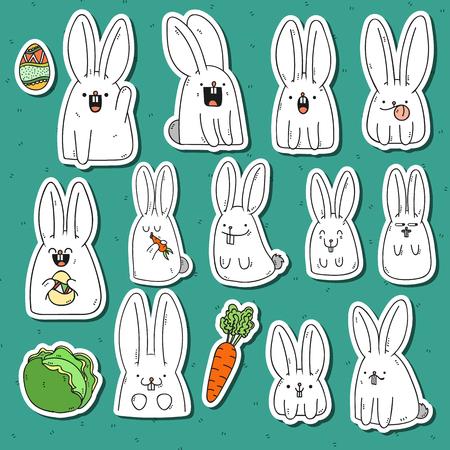 Set 12 adesivo coniglio Doodle con emozioni diverse. Coniglio fatto a mano. coniglio isolato per il design. Coniglietto di Pasqua. Coniglio sorpreso. Carote e cavolo. carote coniglio mangia. coniglio di festa per il design