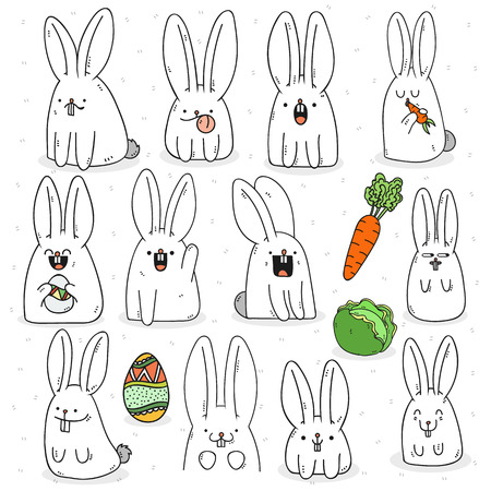 Set 12 sticker rabbit doodle with different emotions. Rabbit Handmade. Isolated rabbit for design. Easter bunny. Surprised rabbit. Carrots and cabbage. Rabbit eating carrots. Festive rabbit for design
