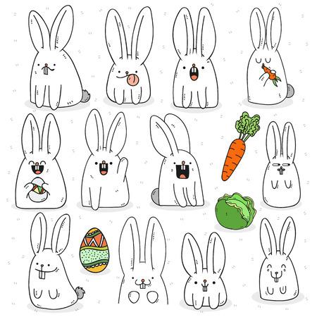 repollo: Doodle fijado conejo 12 pegatina con diferentes emociones. Conejo hecho a mano. aislado de conejo para el diseño. Conejo de Pascua. Conejo sorprendido. Zanahorias y col. zanahorias conejo de comer. conejo festivo para el diseño Vectores