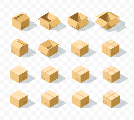 unbuttoned: Set of 16 realistic isometric cardboard boxes with transparent shadow. Realistic boxes in an isometric style of design. Industrial box. Boxes for delivery by mail. Templates box for design