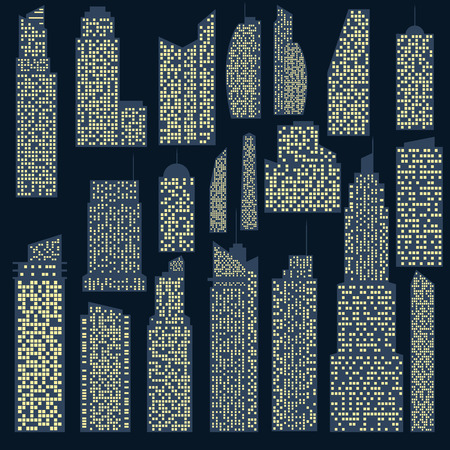 headquarters: Set of detailed vector skyscraper for design and collages