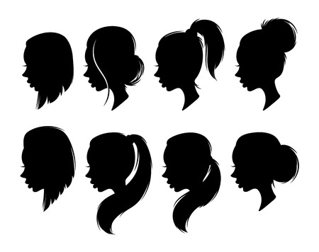 cabeza de mujer: Set of female elegant silhouettes with different hairstyles for design. Female profile design for print and web design