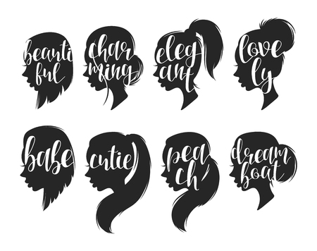 compliments: Set of female elegant silhouettes with different hairstyles and calligraphy. Calligraphic compliments. Female profile with compliments for the design of printed materials and web design