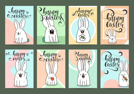 readymade: A set of ready-made designs for print Easter greeting card. Calligraphy postcards. Invitation with a rabbit. Trendy designs to print in trendy pastel colors. Rose Quartz Illustration