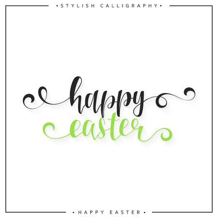 ostern: Lettering calligraphy set. Happy Easter day. Modern lettering. Design labels. Congratulatory text design for printing festive cards, invitations, presentation. Ready design Illustration