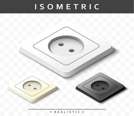 sockets: Set of realistic electric outlets in the isometric view. Isolated sockets for design, presentations, promotional products