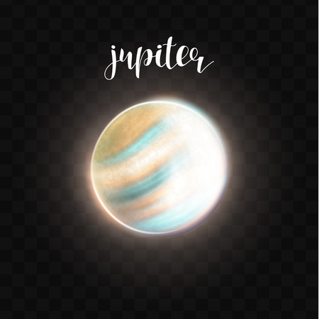 jupiter: Realistic glowing Jupiter planet Isolated. Glow with transparency on black background. Lighting effects. Glowing planet. Realistic space object. Universe. Solar system. Planet for design. Space