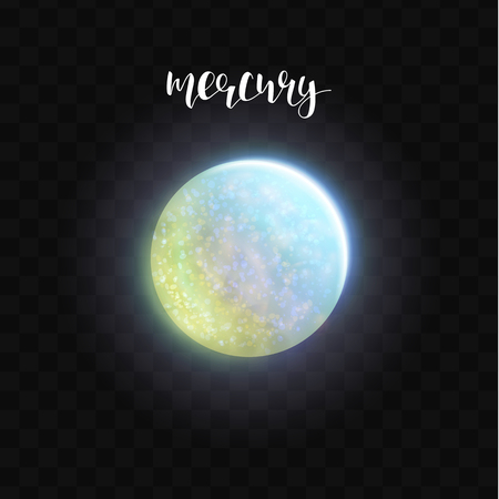 astronomer: Realistic glowing Mercury planet Isolated. Glow with transparency on black background. Lighting effects. Glowing planet. Realistic space object. Universe. Solar system. Planet for design. Space