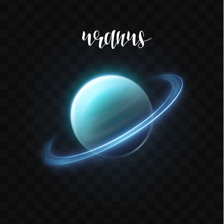 uranus: Realistic glowing Uranus planet Isolated. Glow with transparency on black background. Lighting effects. Glowing planet. Realistic space object. Universe. Solar system. Planet for design. Space Illustration