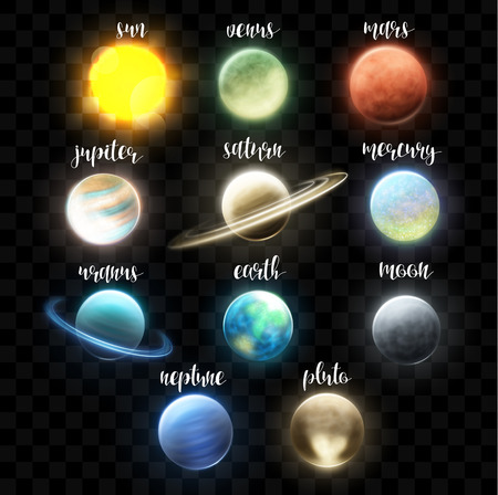 Setzen Sie sich realistische hellen Planeten. Licht kosmische Effekte. Helle Planeten mit Lichteffekten. Weltraum und Planeten. Sonnensystem. Erdsatelliten. Universum. Raum. Realistische Lichteffekte für Design und Collagen Standard-Bild - 52086772