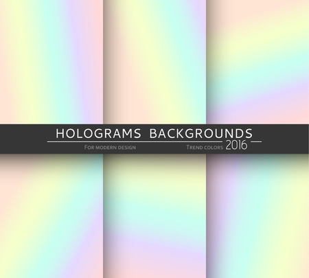 holography: Set of 6 realistic holographic backgrounds in different colors for design. Hologram to create trendy modern design. Backgrounds for design cards, filling silhouettes, pattern design to printing.