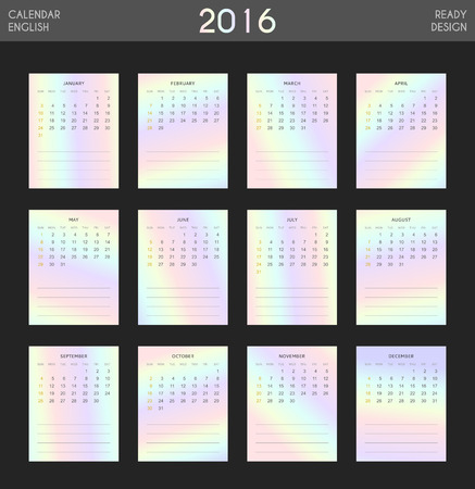 holography: Modern calendar 2016 with colorful hologram in English. Ready for print design. Stylish calendar for 2016. Week starts from Sunday. Template with a calendar for 2016 for design