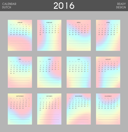holography: Modern calendar 2016 with colorful hologram in German. Ready for print design. Stylish calendar for 2016. Week starts from Monday. Template with a calendar for 2016 for design