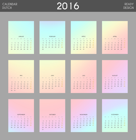 Modern calendar 2016 with colorful hologram in German. Ready for print design. Stylish calendar for 2016. Week starts from Monday. Template with a calendar for 2016 for design